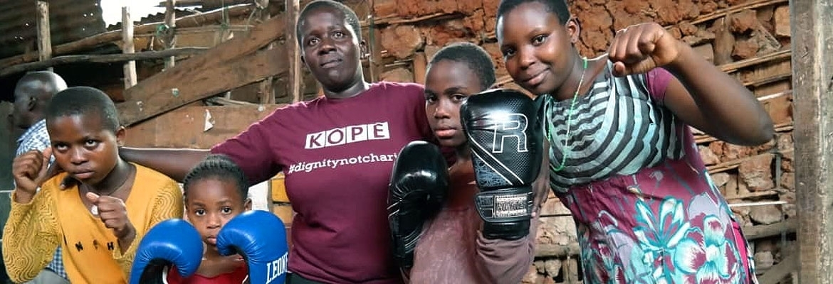 Hellen Baleke with some children at the Rhino Boxing Club - Katanga